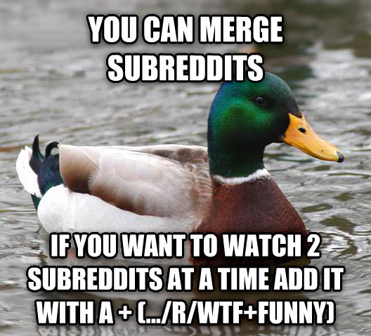 Actual Advice Mallard you can merge subreddits if you want to watch 2 subreddits at a time add it with a + (.../r/wtf+funny) , made with livememe meme creator