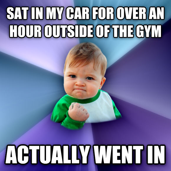 Success Kid sat in my car for over an hour outside of the gym actually went in  , made with livememe meme maker