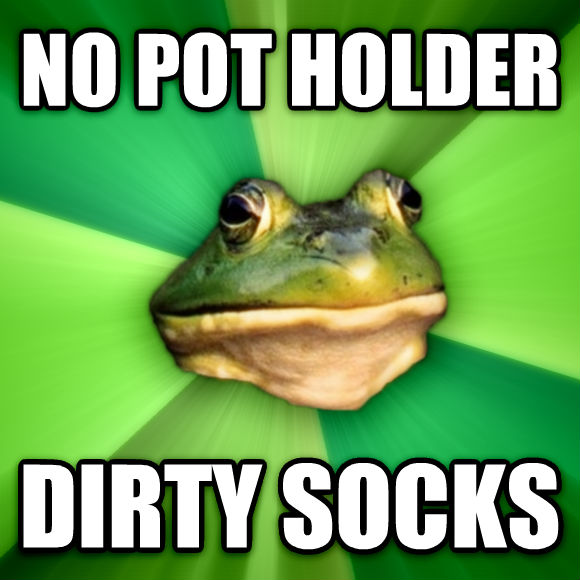 Foul Bachelor Frog no pot holder dirty socks  , made with livememe meme maker