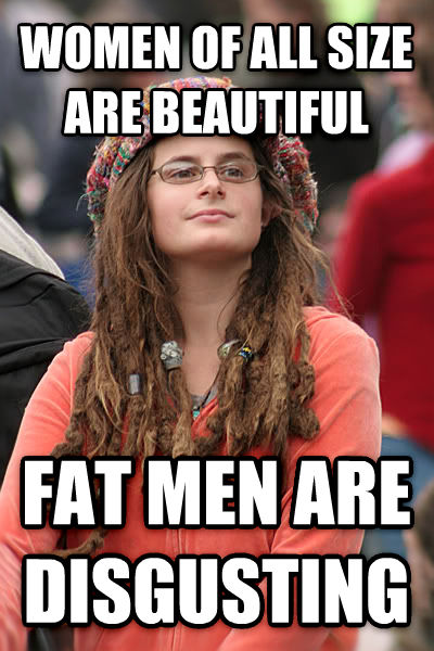 College Liberal women of all size are beautiful fat men are disgusting , made with livememe meme maker