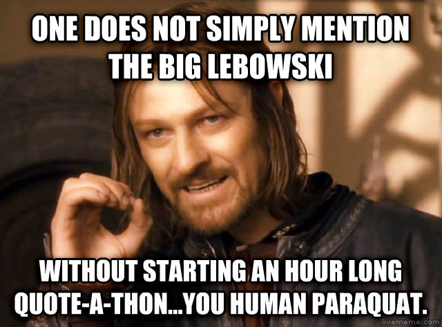 One Does Not Simply one does not simply mention the big lebowski without starting an hour long quote-a-thon...you human paraquat. , made with livememe meme maker