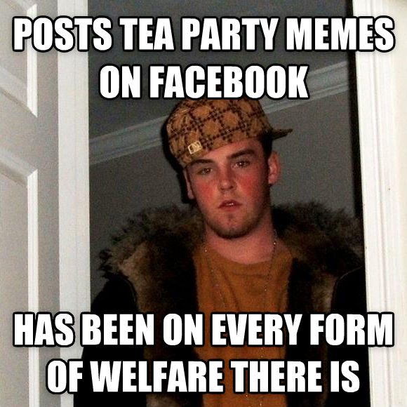 Scumbag Steve posts tea party memes on facebook has been on every form of welfare there is , made with livememe meme creator