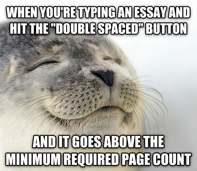 Seal of Approval when you re typing an essay and hit the  double spaced  button and it goes above the minimum required page count , made with livememe meme creator