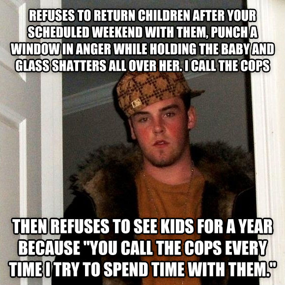 Scumbag Steve refuses to return children after your scheduled weekend with them, punch a window in anger while holding the baby and glass shatters all over her. i call the cops then refuses to see kids for a year because  you call the cops every time i try to spend time with them.  , made with livememe meme maker