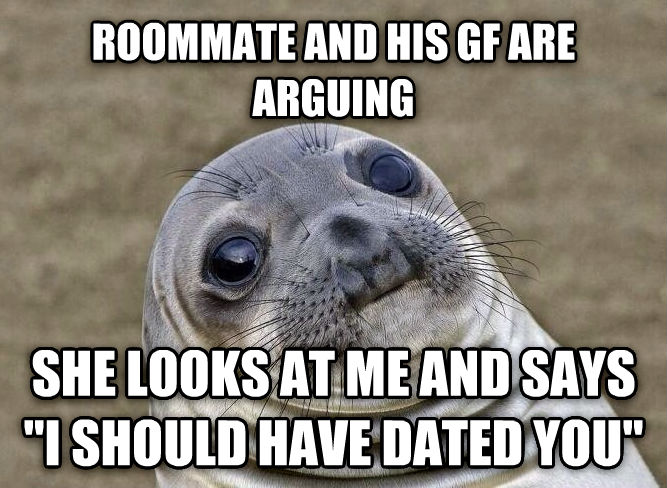 Uncomfortable Situation Seal roommate and his gf are arguing she looks at me and says  i should have dated you  , made with livememe meme generator