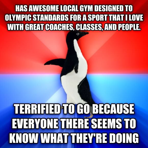 Socially Awesome Awkward Penguin has awesome local gym designed to olympic standards for a sport that i love with great coaches, classes, and people. terrified to go because everyone there seems to know what they re doing  , made with livememe meme generator