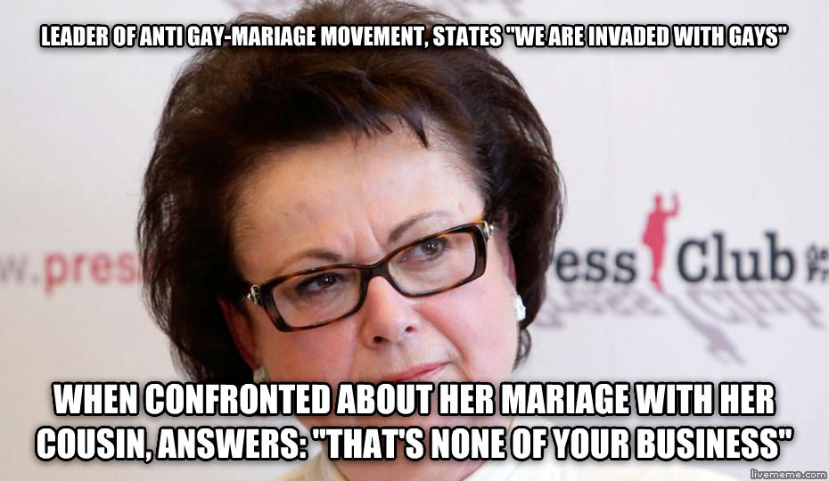 boutin homophobic leader of anti sweet-mariage movement, states  we are invaded with sweets   when confronted about her mariage with her cousin, answers:  that s none of your business  , made with livememe meme creator