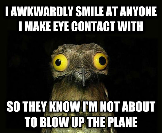 Weird Stuff I Do Potoo i awkwardly smile at anyone i make eye contact with so they know i m not about to blow up the plane , made with livememe meme generator