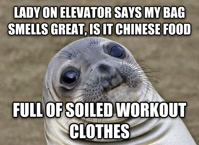 Uncomfortable Situation Seal lady on elevator says my bag smells great, is it chinese food full of soiled workout clothes , made with livememe meme creator