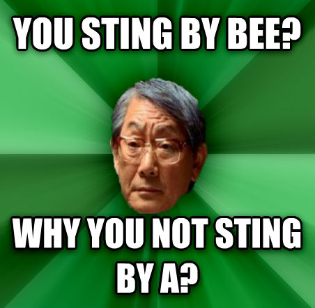 High Expectations Asian Father you sting by bee? why you not sting by a?  , made with livememe meme generator