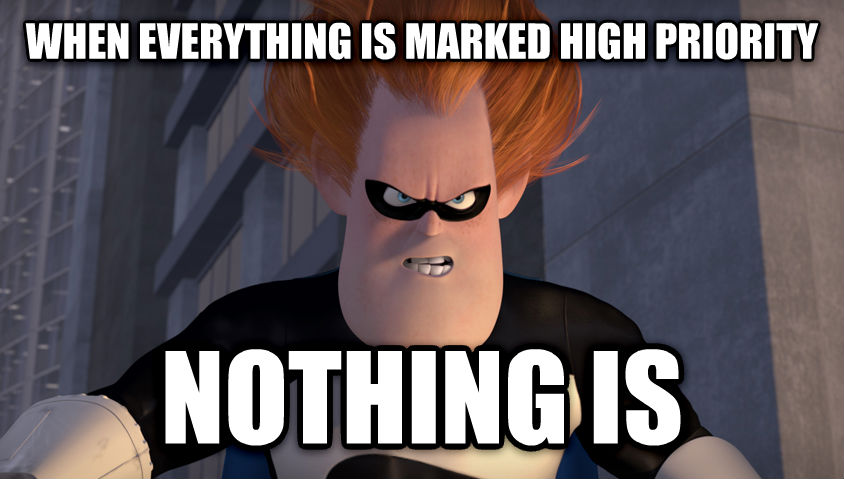 Syndrome when everything is marked high priority nothing is , made with livememe meme maker