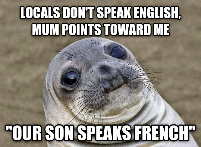Uncomfortable Situation Seal locals don t speak english, mum points toward me  our son speaks french  , made with livememe meme generator