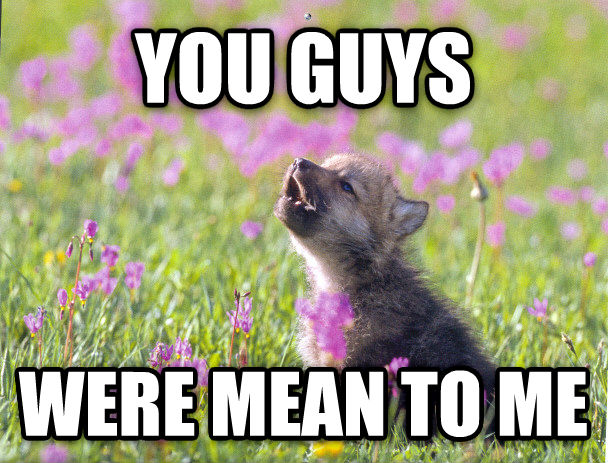 Baby Insanity Wolf you guys were mean to me , made with livememe meme generator