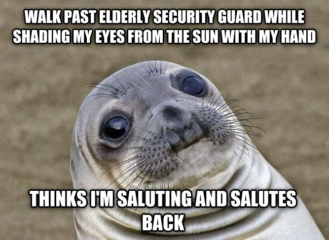 Uncomfortable Situation Seal walk past elderly security guard while shading my eyes from the sun with my hand thinks i m saluting and salutes back , made with livememe meme creator