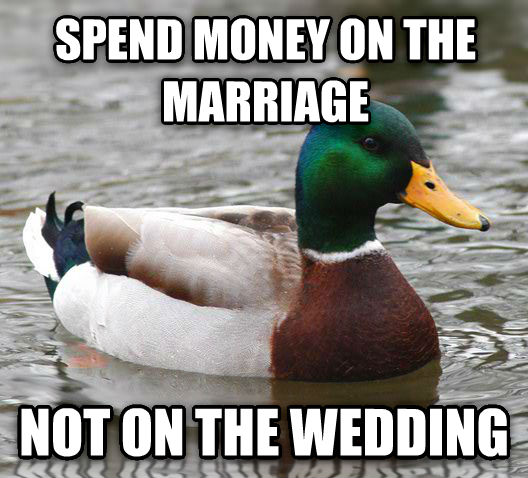 Actual Advice Mallard spend money on the marriage not on the wedding , made with livememe meme maker