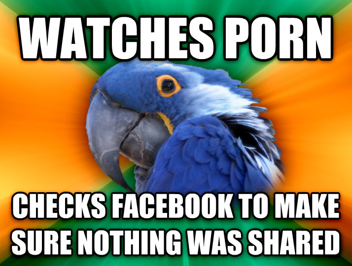 Paranoid Parrot watches photo checks facebook to make sure nothing was shared  , made with livememe meme creator