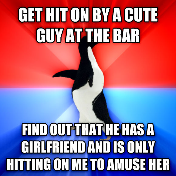 Socially Awesome Awkward Penguin get hit on by a cute guy at the bar find out that he has a girlfriend and is only hitting on me to amuse her  , made with livememe meme generator