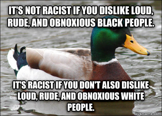 Actual Advice Mallard it s not racist if you dislike loud, rude, and obnoxious black people.  it s racist if you don t also dislike loud, rude, and obnoxious white people.  , made with livememe meme maker