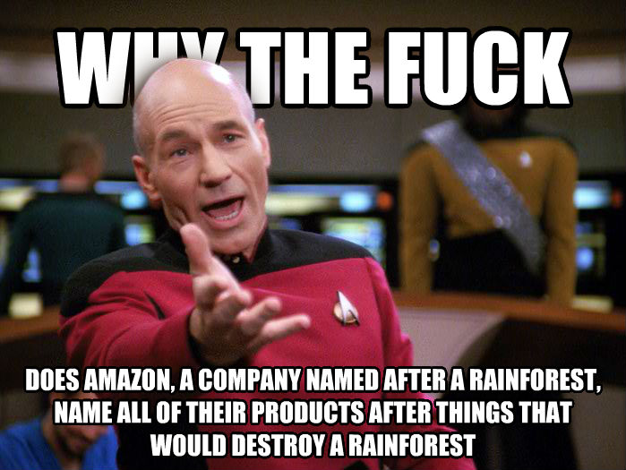 Annoyed Picard 1080p why the heck does amazon, a company named after a rainforest, name all of their products after things that would destroy a rainforest , made with livememe meme generator