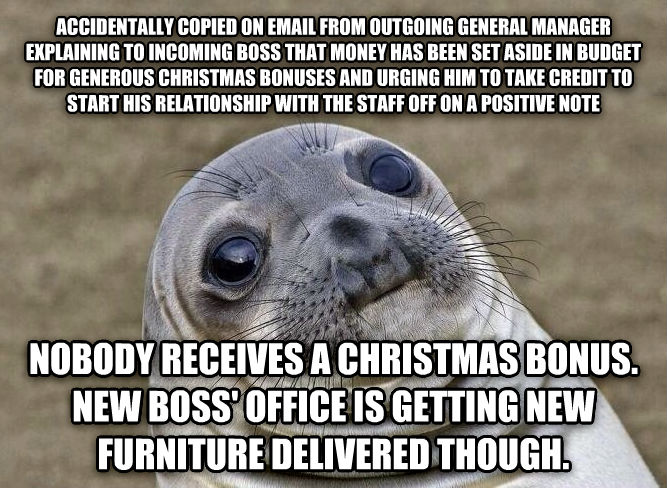 Uncomfortable Situation Seal accidentally copied on email from outgoing general manager explaining to incoming boss that money has been set aside in budget for generous christmas bonuses and urging him to take credit to start his relationship with the staff off on a positive note nobody receives a christmas bonus. new boss  office is getting new furniture delivered though. , made with livememe meme generator