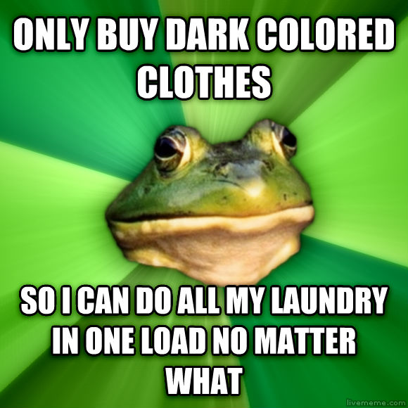 Foul Bachelor Frog only buy dark colored clothes so i can do all my laundry in one load no matter what  , made with livememe meme generator