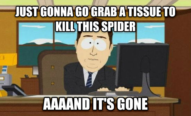 And It s Gone just gonna go grab a tissue to kill this spider aaaand it s gone , made with livememe meme maker