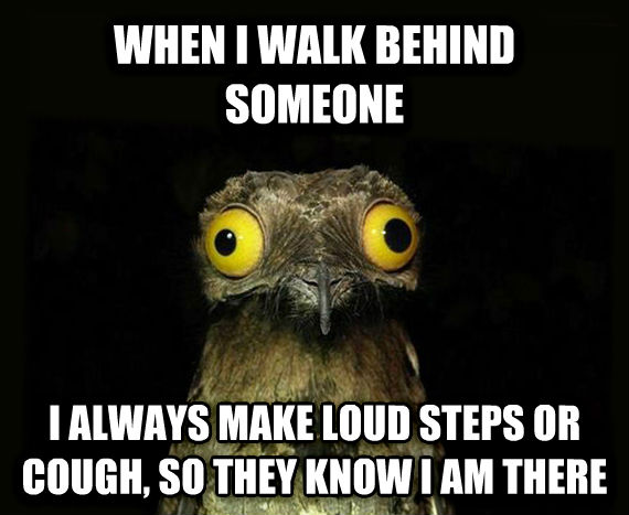 Weird Stuff I Do Potoo when i walk behind someone i always make loud steps or cough, so they know i am there , made with livememe meme creator