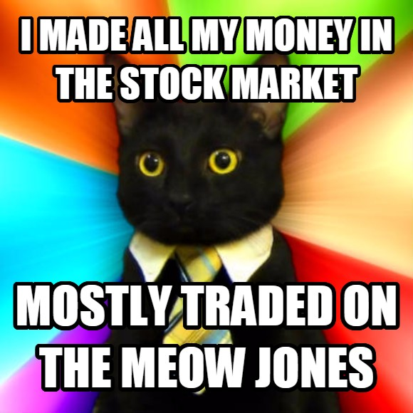 Business Cat i made all my money in the stock market mostly traded on the meow jones  , made with livememe meme generator