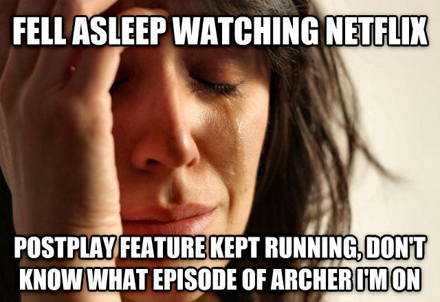 First World Problems fell asleep watching netflix postplay feature kept running, don t know what episode of archer i m on , made with livememe meme generator