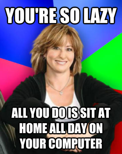 Sheltering Suburban Mom you re so lazy  all you do is sit at home all day on your computer  , made with livememe meme generator