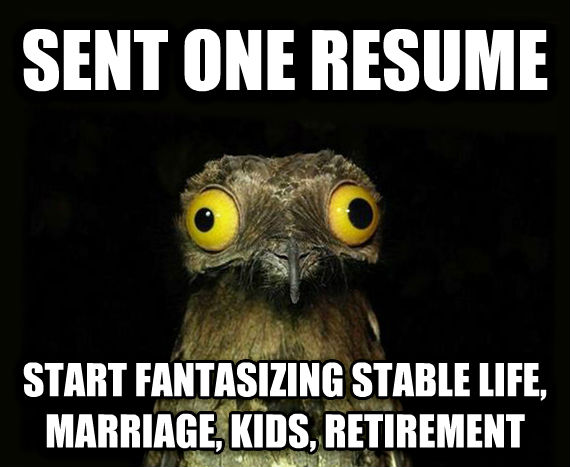 Weird Stuff I Do Potoo sent one resume start fantasizing stable life, marriage, kids, retirement , made with livememe meme creator