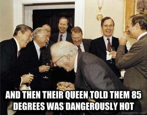A Then I Told Them  and then their queen told them 85 degrees was dangerously hot , made with livememe meme creator
