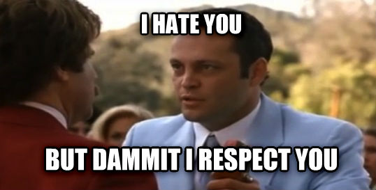 Anchorman I hate you i hate you but dammit i respect you , made with livememe meme creator