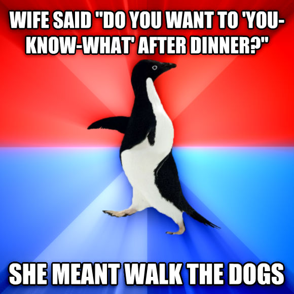 Socially Awesome Awkward Penguin wife said  do you want to  you-know-what  after dinner?  she meant walk the dogs  , made with livememe meme generator