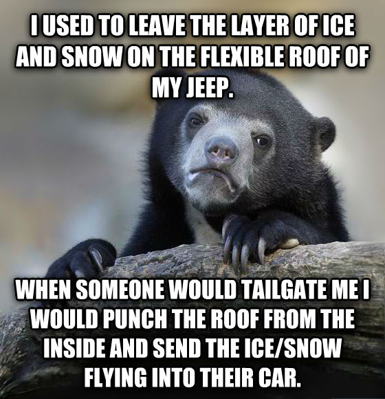 Confession Bear i used to leave the layer of ice and snow on the flexible roof of my jeep. when someone would tailgate me i would punch the roof from the inside and send the ice/snow flying into their car. , made with livememe meme generator