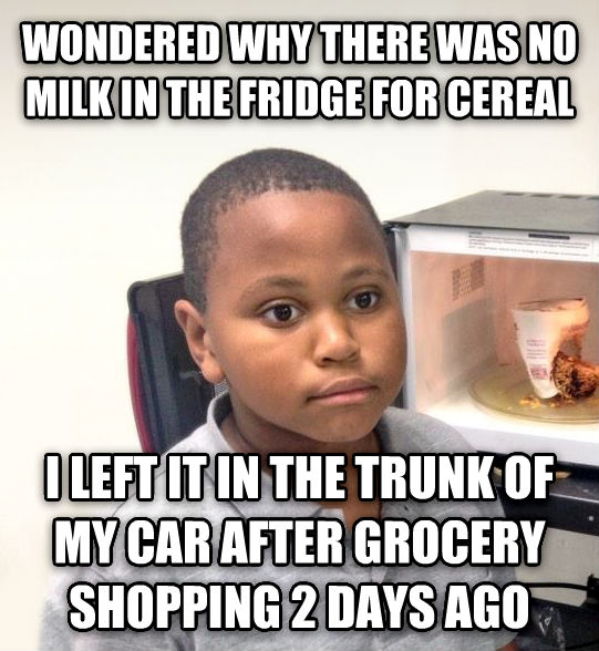 Minor Mistake Marvin wondered why there was no milk in the fridge for cereal i left it in the trunk of my car after grocery shopping 2 days ago , made with livememe meme generator