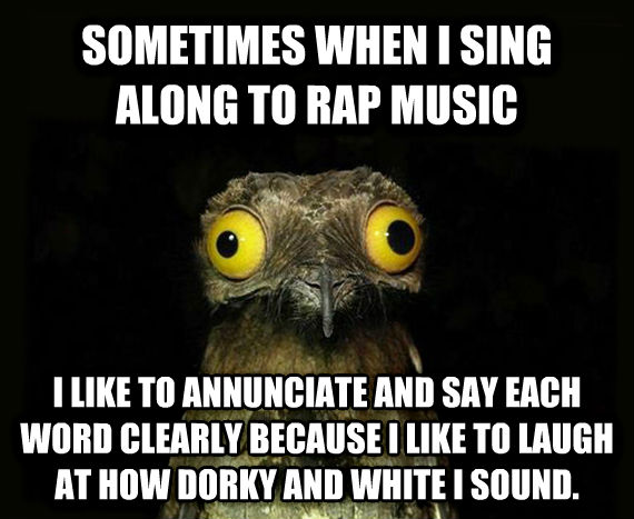 Weird Stuff I Do Potoo sometimes when i sing along to rap music i like to annunciate and say each word clearly because i like to laugh at how dorky and white i sound.  , made with livememe meme creator