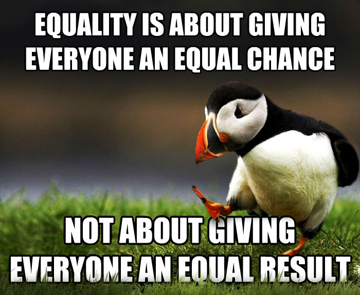 Unpopular Opinion Puffin equality is about giving everyone an equal chance not about giving everyone an equal result , made with livememe meme maker