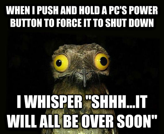 Weird Stuff I Do Potoo when i push and hold a pc s power button to force it to shut down i whisper  shhh...it will all be over soon  , made with livememe meme maker