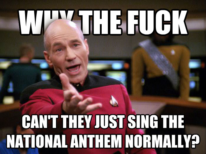 Annoyed Picard 1080p why the heck can t they just sing the national anthem normally? , made with livememe meme maker