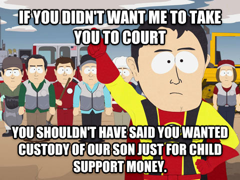 Captain Hindsight if you didn t want me to take you to court you shouldn t have said you wanted custody of our son just for child support money. , made with livememe meme creator
