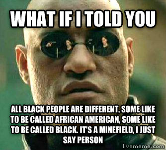 Matrix Morpheus what if i told you all black people are different, some like to be called african american, some like to be called black. it s a minefield, i just say person , made with livememe meme generator