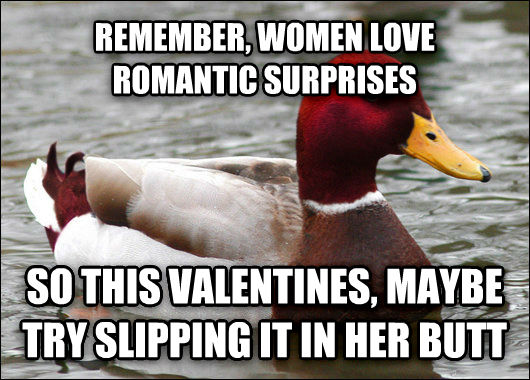Malicious Advice Mallard remember, women love romantic surprises so this valentines, maybe try slipping it in her butt  , made with livememe meme maker