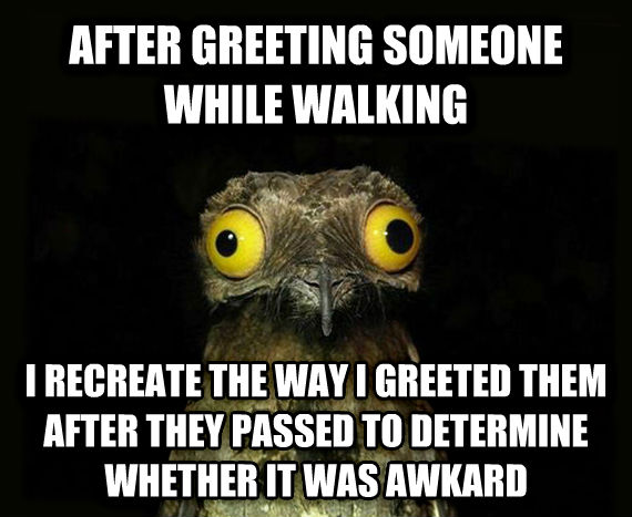 Weird Stuff I Do Potoo after greeting someone while walking i recreate the way i greeted them after they passed to determine whether it was awkard  , made with livememe meme generator