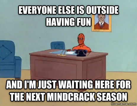 Relaxing Spiderman everyone else is outside having fun and i m just waiting here for the next mindcrack season , made with livememe meme generator