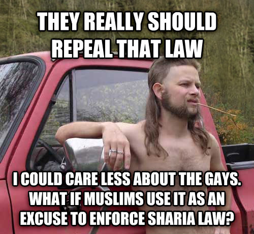 Almost Politically Correct Redneck they really should repeal that law i could care less about the sweets. what if muslims use it as an excuse to enforce sharia law? , made with livememe meme creator
