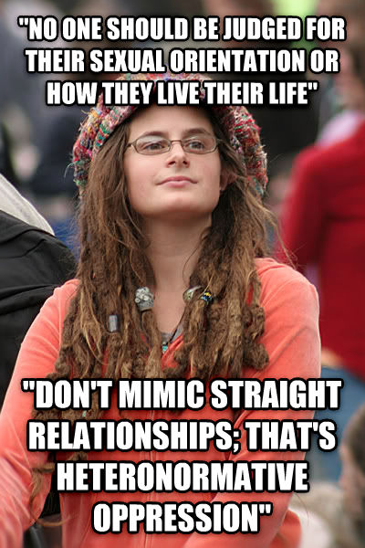 College Liberal  no one should be judged for their sensual orientation or how they live their life   don t mimic straight relationships; that s heteronormative oppression  , made with livememe meme generator