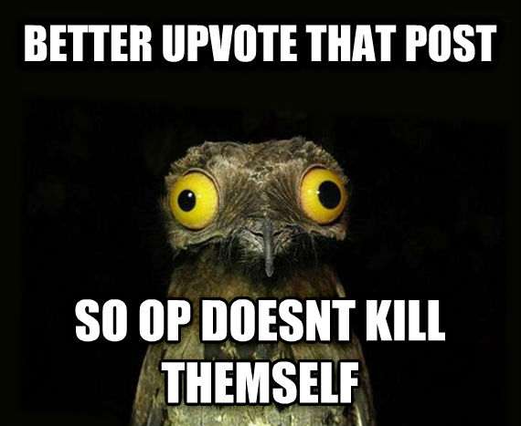 Weird Stuff I Do Potoo better upvote that post so op doesnt kill themself , made with livememe meme maker