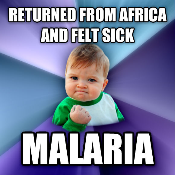 Success Kid returned from africa and felt sick malaria  , made with livememe meme creator