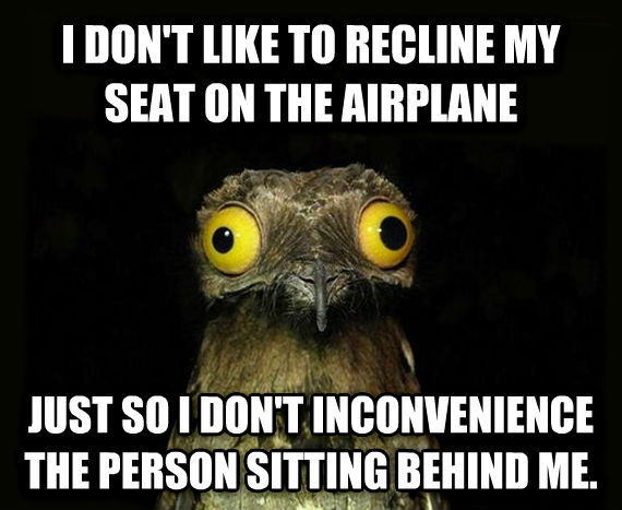 Weird Stuff I Do Potoo i don t like to recline my seat on the airplane just so i don t inconvenience the person sitting behind me. , made with livememe meme maker